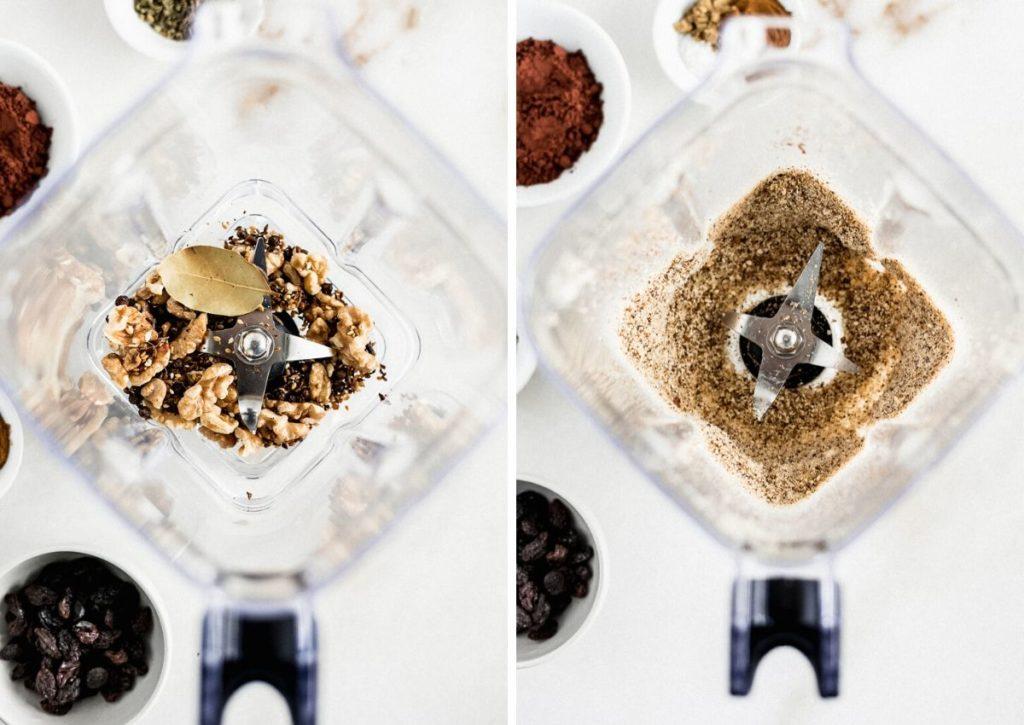 dos imágenes de especias en una licuadora y especias molidas en la licuadora.