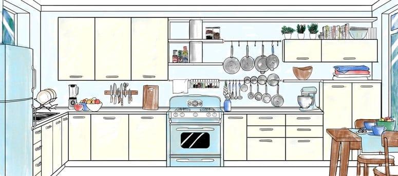 La imagen puede contener: interior, habitación, cocina, muebles y silla