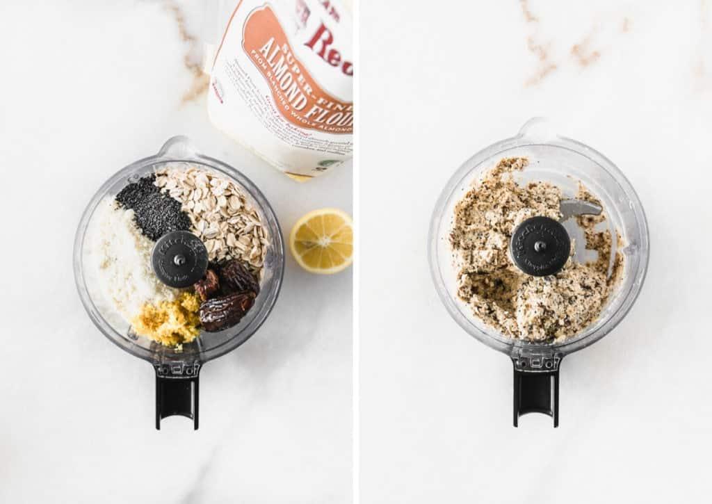 dos imágenes de un procesador de alimentos, antes y después de mezclar los ingredientes de las picaduras de semillas de amapola y limón.