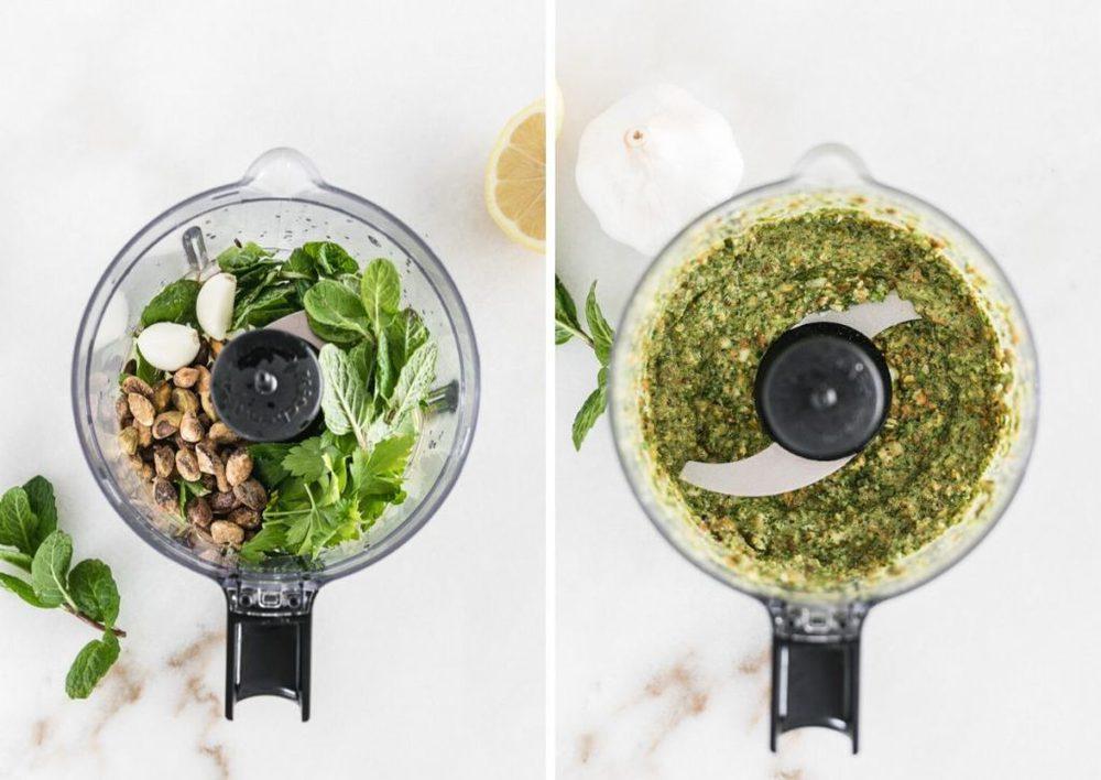 imágenes lado a lado de los ingredientes del pesto de menta en un procesador de alimentos y el pesto en un procesador de alimentos.