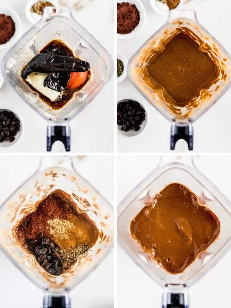 cuatro imágenes de arriba de una licuadora que muestran los pasos para mezclar la salsa de mole.