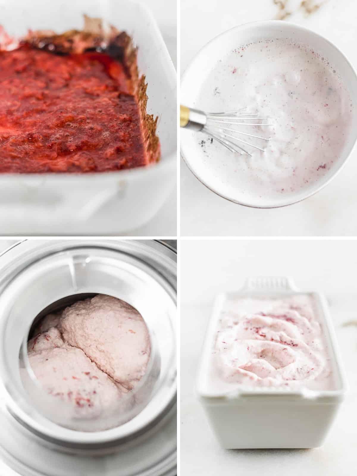 Collage de cuatro imágenes que muestra los pasos para hacer helado de fresa asado casero con una máquina de helado.