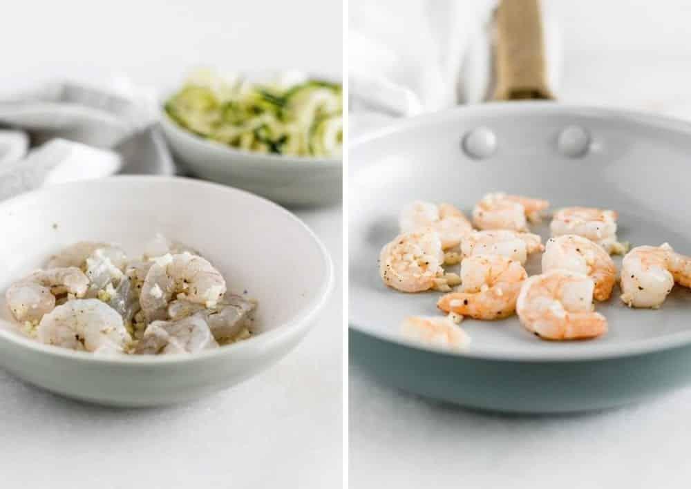 imágenes una al lado de la otra de camarones crudos en un tazón y camarones cocidos en una sartén.