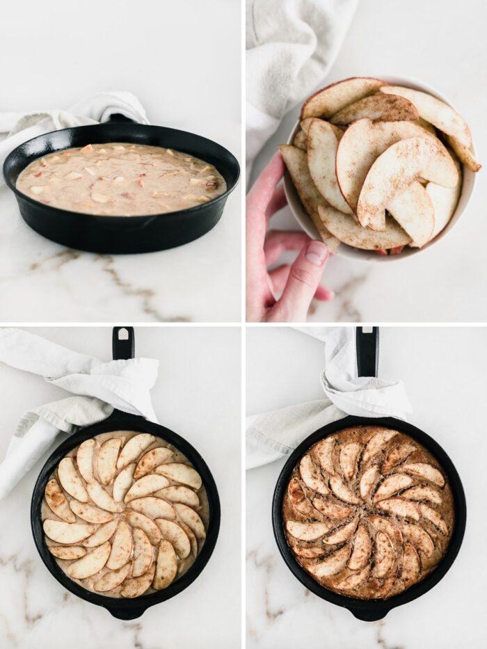 Collage de cuatro imágenes que muestra los pasos para hacer un pastel de manzana en la sartén.
