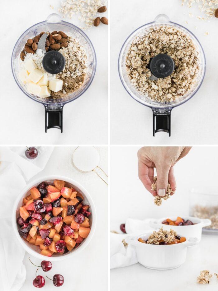 Pasos sobre cómo hacer zapatero de frutas de hueso.