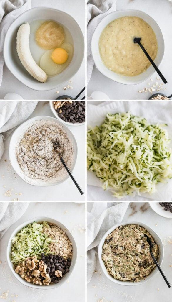 Collage de seis imágenes que muestran los pasos para hacer galletas de avena y calabacín para el desayuno.