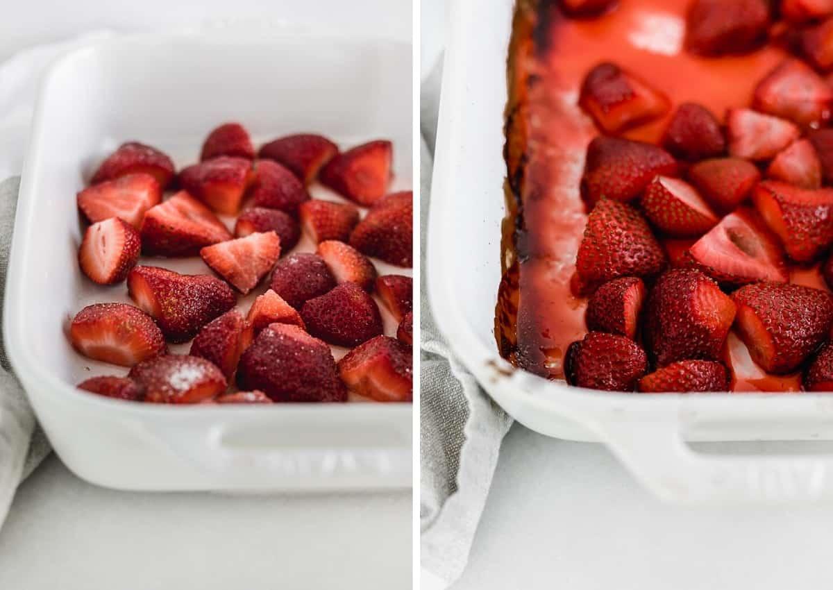 dos imágenes una al lado de la otra de una fuente para hornear blanca, una con fresas frescas cortadas a la mitad espolvoreadas con azúcar y la otra con fresas tostadas.