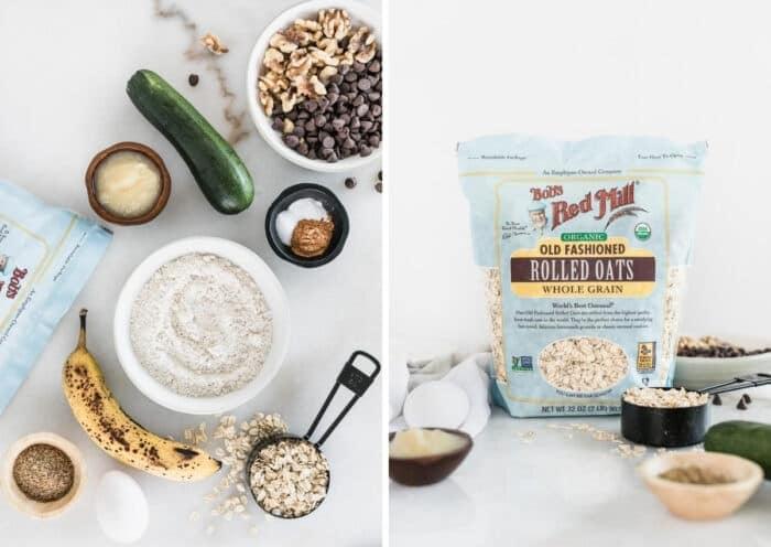 dos imágenes una al lado de la otra de los ingredientes para las galletas de desayuno de calabacín, una de arriba y otra de una bolsa de avena directamente.
