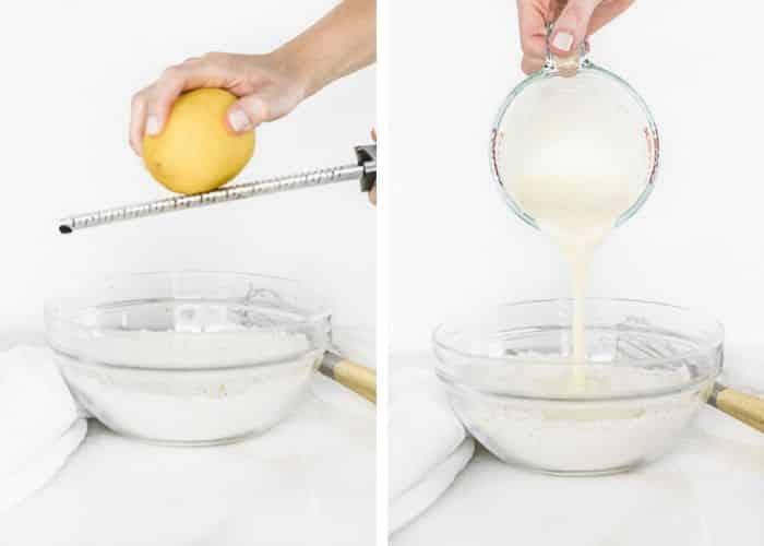dos imágenes una al lado de la otra: una de una mano que ralla un limón en un tazón de ingredientes secos y la otra vierte los ingredientes húmedos en el tazón.