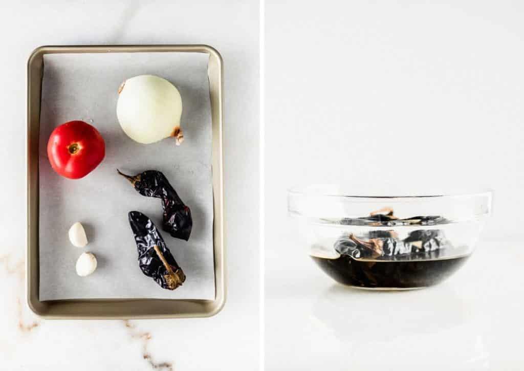 dos fotografías que muestran verduras en una bandeja para asar y pimientos secos remojados en agua en un recipiente de vidrio.