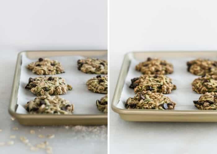 imágenes una al lado de la otra que muestran galletas de avena y calabacín en una bandeja para hornear antes y después de hornear.